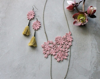 rose pink lace necklace and earrings set   FLOREAT   tassel earrings, long necklace, jewelry set, bridal jewelry, gift for her