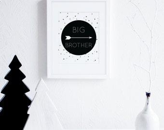 Big Brother Art Printables, Arrows Art Print, Black and White Little Boys Room Decor, Monochrome Nursery Wall Art, Modern Nursery Decor