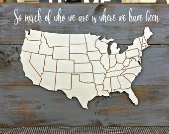 US Map Wood Board
