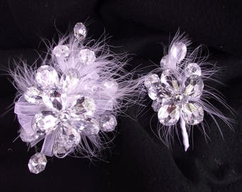 Rhinestone wrist corsage and boutonniere set, rhinestone wedding set, feather wrist corsage, prom corsage set, maid of honor corsage, bling