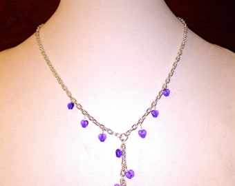 blue and purple heart necklace