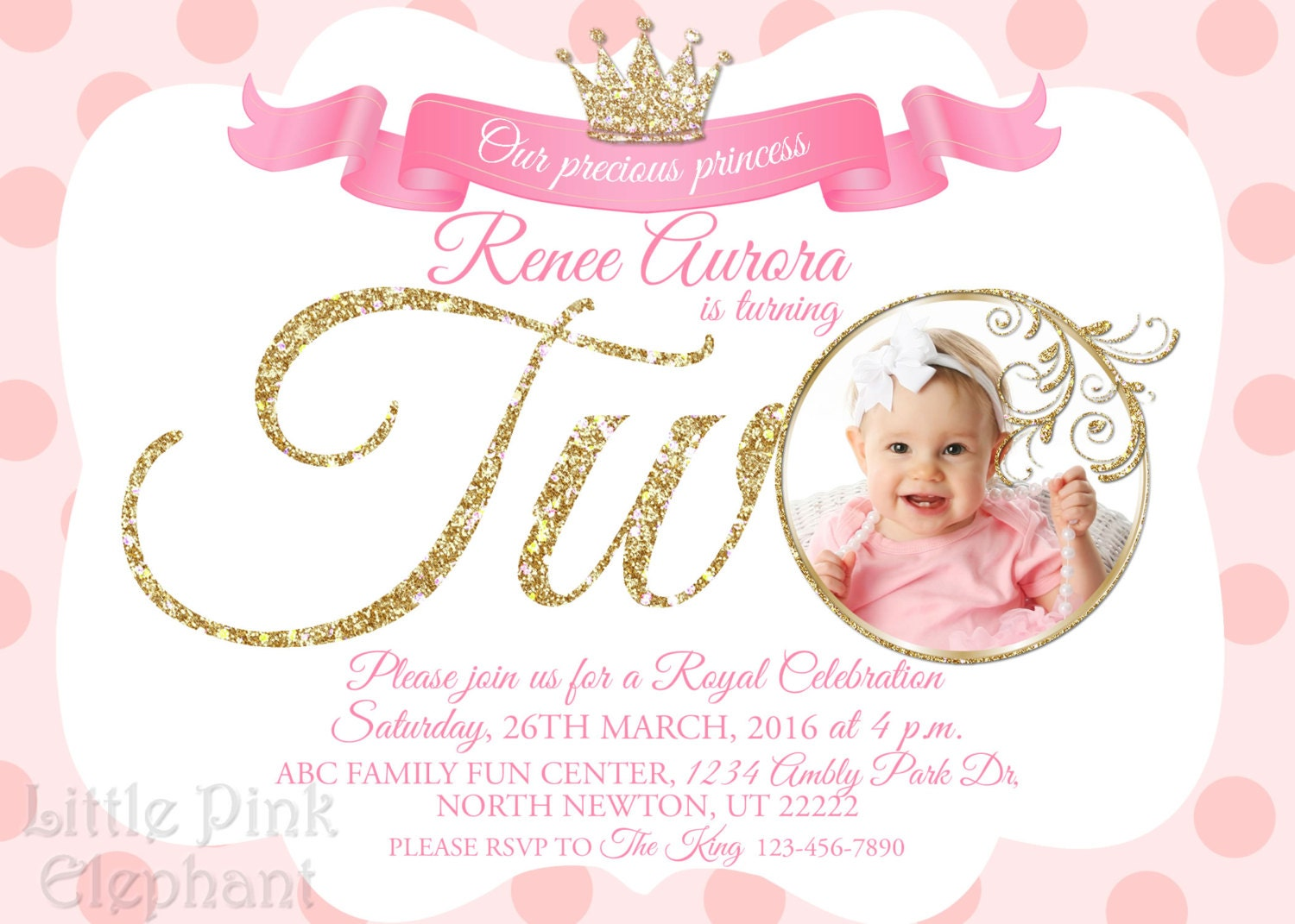 Second birthday invitation girl Princess invitation Royal