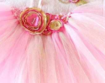 Gorgeous Beautiful Light Pink, Hot Pink, and Gold Satin Shabby Chic Flower Tutu Dress for Baby Girl 6-18 Months old First Birthday