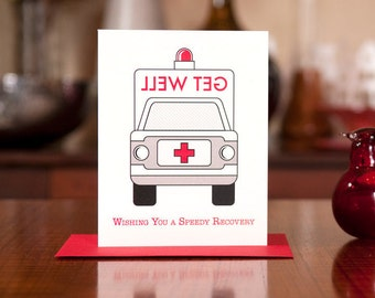 Speedy Recovery - Ambulance Get Well Soon Card - 100% Recycled Paper