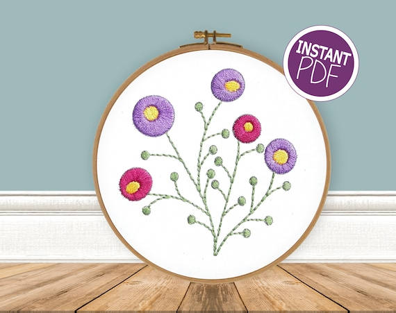 Embroidery Pattern Modern Flower embroidery design