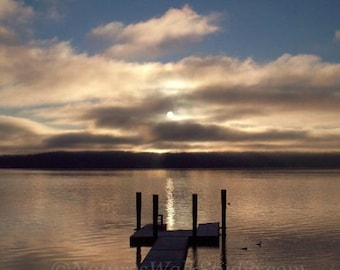 Sunrise at the Dock, Quiet Morning on Hood Canal Shoreline Fine Art Photograph