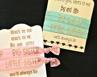 Big Sister Little Sister Hair Accessories Greek Gift Sorority Hair Ties and Elastics