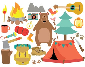 Camping - Travel - Clipart & Vector Set - Instant Download - Personal and Commercial Use
