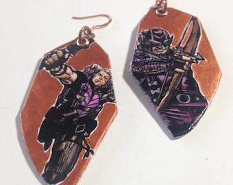 Hawkeye - shimmering copper Clint Barton hand-painted comic book earrings