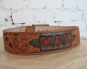 """Vintage Tooled Western Leather Belt Name """"Kay"""" w/ Mirror Buckle, max W32 // Cowgirl Belt"""