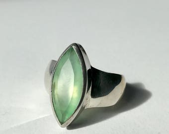Faceted Chrysoprase Ring US 8