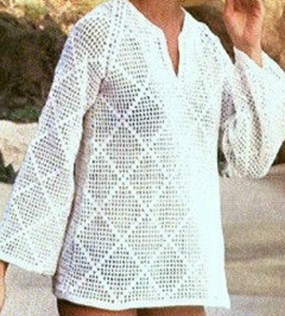 Patron de crochet 1970s pdf de tejido top blusa para la playa