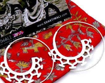Spiral earrings/ silver plated brass earrings/Ethnic design earrings