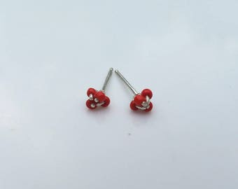 Tiny flower studs with vintage red beads