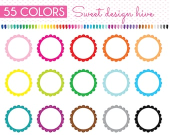 Scalloped Circle Tag, Circle Frame Clipart, Circle Clipart, Geometric Clip Art, Banner, Rainbow, Planner Stickers, Commercial Use, PL0084