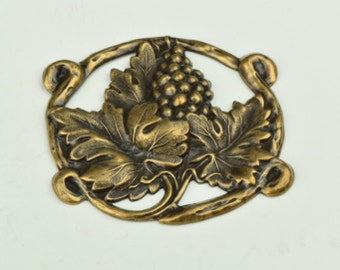 Grape Metal Stamping  Round 3D , Brass plated Antique Gold sold 3 each 13138