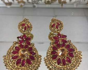 Indian style purple and antique gold earrings