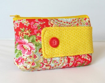 Zipper pouch, floral cotton pouch, cotton zipper case, red and yellow pouch, cosmetic bag, handmade pouch