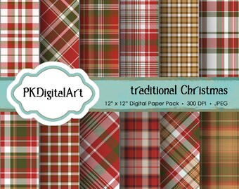 "Christmas Plaid Digital Paper - ""Traditional Christmas""  Scrapbook Paper Background Crafting Supplies"