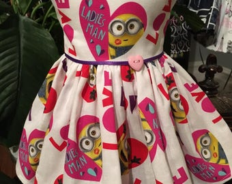"Minion ""Love"" dress fits 18 inch dolls including American Girl Doll"