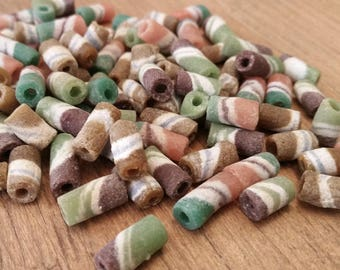 Tubular African Sand Cast Recycled Glass Bead Lot