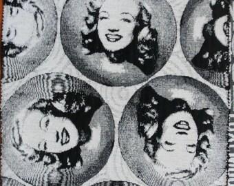 Marilyn Monroe, Newspaper, Font, Paris Gobelin Fabric 4 Sample Pieces
