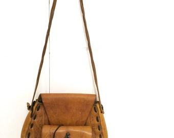 Vintage Hippie Shoulder Bag Whip Stitch Leather 1960s