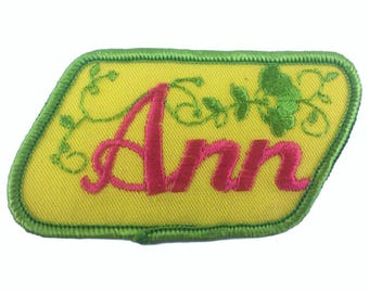 Vintage Name Patch - Ann - NEW OLD STOCK Bright Neon Groovy Retro