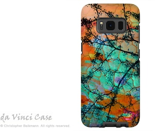 Case for Samsung Galaxy S8 - Orange and Turquoise Green Abstract Dual layer Galaxy S8 Case - Southwest Sunset - Premium Dual Layer Case