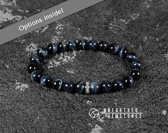 Blue Tiger Eye Bracelet -Men Bracelet, Men Jewlery, Men Tiger Eye Jewelry, Yoga Jewelry, Gemstone Beaded Bracelet for Him