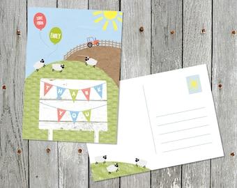 Thank You Postcards - Personalised Farmyard Theme postcards x5
