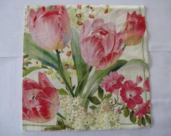 set of 2 pink tulips paper napkins