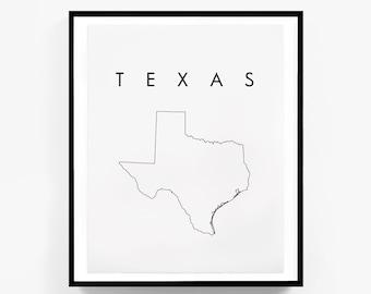 Texas Map, State Map Print, Texas Print, Texas Art, Digital Download, State Map Prints, Texas Wall Art, Texas Printable Art