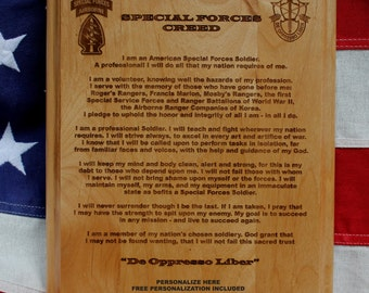 Personalized Special Forces Creed Plaque, Three lines of personalized text, Green Beret custom, Spec Ops gift, De Oppresso Liber
