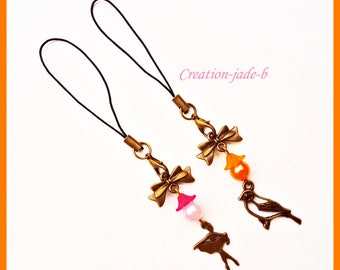 2 jewelry wearable dancer and bird - phone Strap