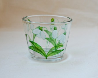 Snowdrop design candle cup, hand painted glass, tea-light holder, glassware