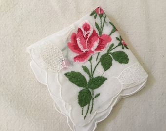 Vintage Handkerchief / Red Roses