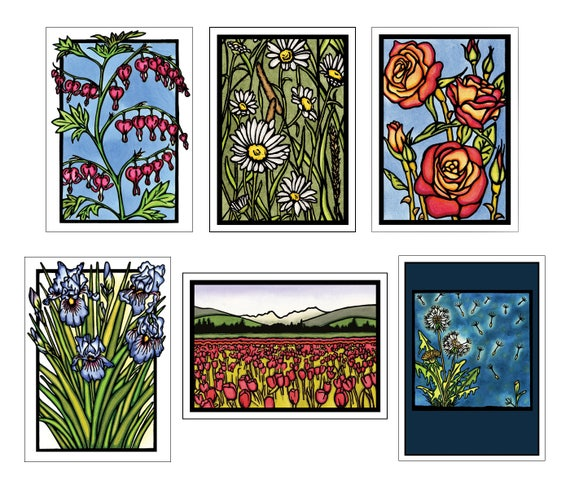 Floral Collection #2 - 6 Blank Greeting Cards - Bleeding Hearts, Daisies, Roses, Iris, Tulips, Dandelions