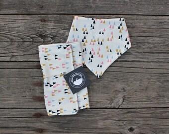Minky Bib, Burp Cloth and Teether Gift Set