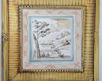 Trompe l'oeil engraving in frame original painting by Kristy Edwards
