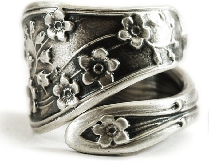 Forget Me Not Ring, Spoon Ring Sterling Silver, Forget Me Not Flower, Adjustable Ring Size, Silver Floral Ring, Unique Promise Ring (1573)