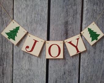 christmas banner, joy banner, christmas decorations, christmas glitter banner, holiday decorations, christmas joy sign, holiday sign
