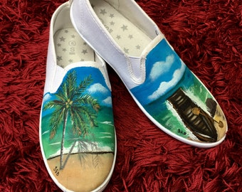Hand painted Shoes Island Summer