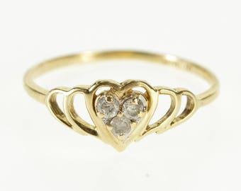 10k Diamond Inset Heart Cluster Scalloped Ring Gold