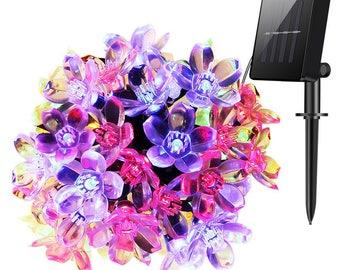 50 LED Solar Lights, 22ft Blossom String Lights Decorative Lighting, Garden, Xmas Tree, Party, Holiday, Multi Color