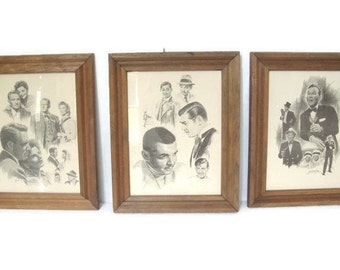 Old Hollywood Art, Graphite Drawing Prints, Bing Crosby, Clark Gable, Spencer Tracy, Katharine Hepburn, Glen Banse, 1970s, Set of 3