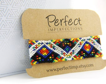 Epic Rainbow Wide Friendship Bracelets // PerfectImp Best Friend Gift / Handwoven Micro Macrame Pixel Bracelet / OOAK String Handmade Gifts