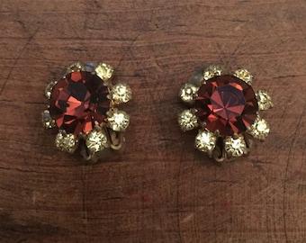 Vintage yellow and brown rhinestone clip earrings