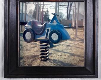 Fine Art Photo - Race Car Playground Bouncer, square Fine Art Photo, kids room, home decor,  Photography