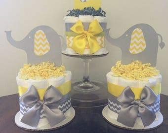 Mini diaper cakes,Diaper cakes,Elephant diaper cakes,Mini elephant diaper cakes,Elephant baby shower,Girl diaper cakes,Boy diaper cakes